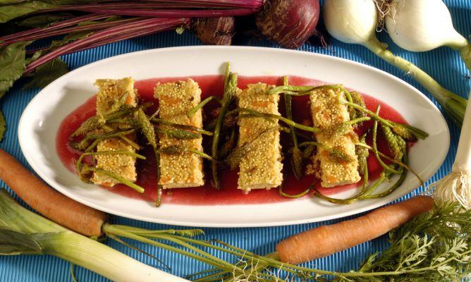 Pastel de mijo con verduras