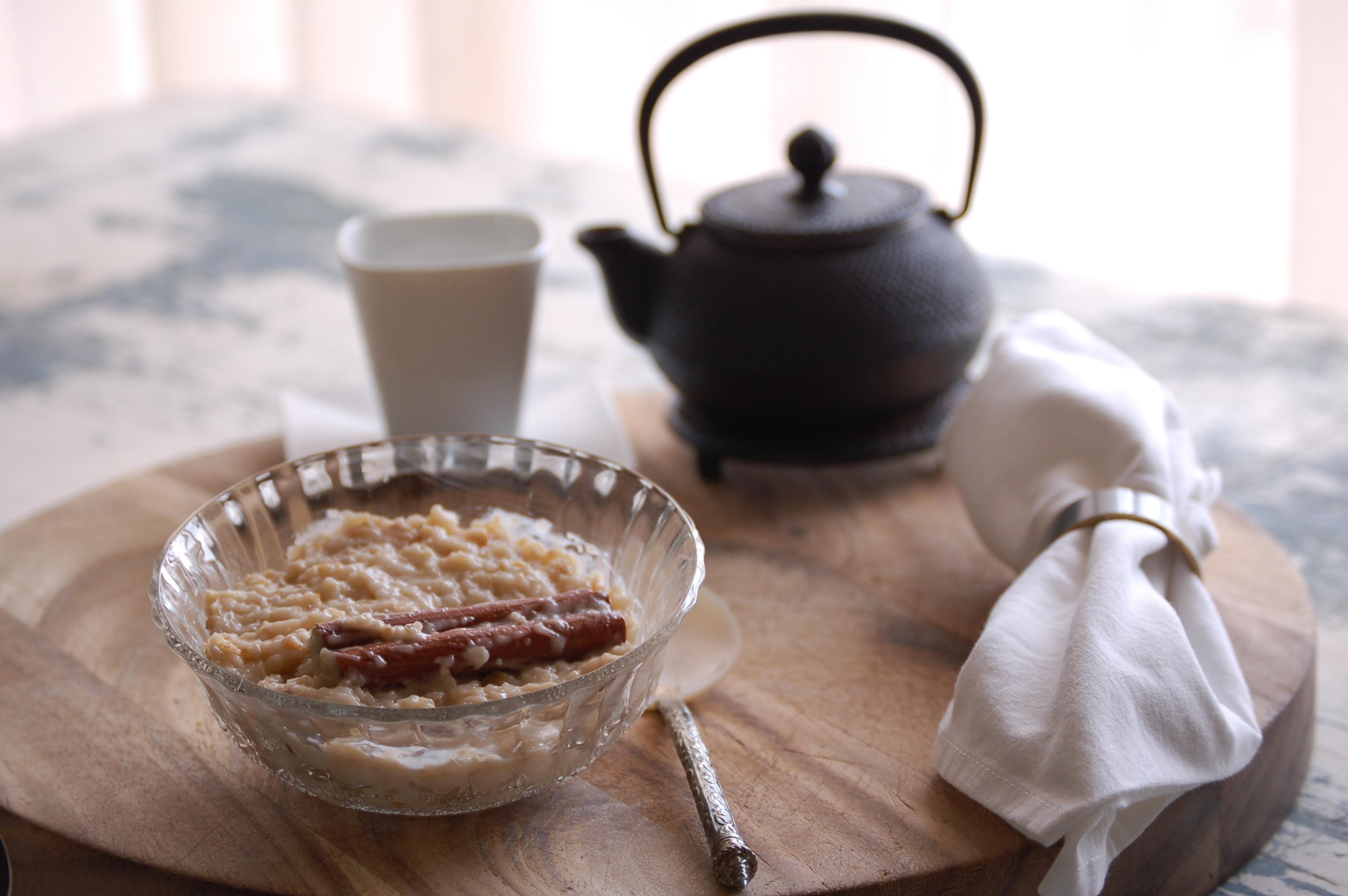 Desayuno de crema de copos de avena